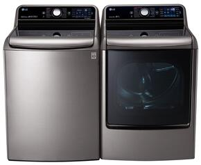 "Graphite Steel Top Load Laundry Pair with WT7700HVA 29"" 5.7 Cu. Ft. Washer and DLEX7700VE 9.0 Cu. Ft. Capacity Electric Dryer"
