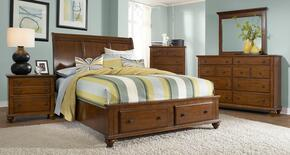 Hayden Place Collection 5 Piece Bedroom Set With California King Size Sleigh Storage Bed + 2 Nightstands + Dresser + Mirror: Light Cherry