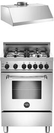 "Bertazzoni Stainless Steel 2-Piece Kitchen Package With MAS244GASXELP 24"" Gas Freestanding Range with 4 Burners and Free KU24PRO1XV 24"" Professional Series Hood"