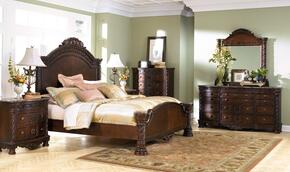 North Shore King Bedroom Set with Panel Bed, Dresser, Mirror and Chest in Dark Brown
