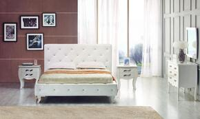VGJYMONTECARLO-WHT-TCTDMN Modrest Monte Carlo Twin Size Bed + Dresser + Mirror + 2 Nightstands in White