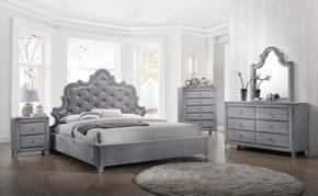 Sophie Collection SOPHIEKPBDMN 4-Piece Bedroom Set with King Panel Bed, Dresser, Mirror and Single Nightstand in Grey