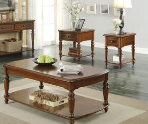 Faris 80915CES 3 Pc Living Room Table Set with Coffee Table + End Table + Side Table in Light Walnut Finish