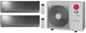 Dual Zone Mini Split Air Conditioner System with 30000 BTU Cooling Capacity, 2 Indoor Units, and Outdoor Unit