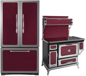 """3-Piece Cranberry Kitchen Package with 301500RCRN 30"""" Bottom Freezer Refrigerator, 6210CD0CRN 48"""" Freestanding Electric Range, and HCDWI1CRN 24"""" Fully Integrated Dishwasher"""
