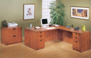 KIT2N101MOC Desk Shell Complete with Reversible Return, Pedestal Box File, and 2 Drawer Lateral File in Mocha Finish