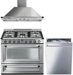 "3-Piece Stainless Steel Kitchen Package with TRU36GGX 36"" Freestanding Gas Range, KT90XU 36"" Wall Mount Convertible Hood, and STU8647X 24"" Fully Integrated Dishwasher"