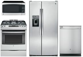 "4 Piece Kitchen Package With JGS750SEFSS 30"" Gas Range, JES2051SNSS Over the Range Microwave Oven, GSS25GSHSS 36"" Side By Side Refrigerator and GDT545PSJSS 24"" Built In Dishwasher In Stainless Steel"