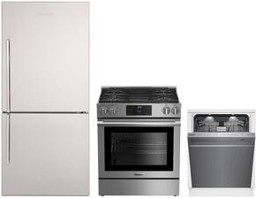 "3-Piece Kitchen Package with BRFB1812SSN 30"" Bottom Freezer Refrigerator, BGR30420SS 30"" Slide-in Gas Range, and a free DWT59500SS 24"" Built In Fully Integrated Dishwasher in Stainless Steel"