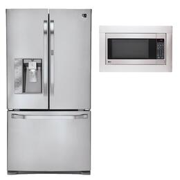 "3-Piece Stainless Steel Kitchen Package with LSFD2491ST 36"" French Door Refrigerator, LSRM2010ST 24"" Countertop Microwave and  MK2030F 30"" Microwave Built-in Trim Kit"