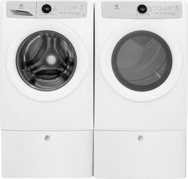"White Front Load Laundry Pair with EFLW317TIW 27"" Washer, EFDE317TIW 27"" Electric Dryer and 2 EPWD157SIW Pedestals"