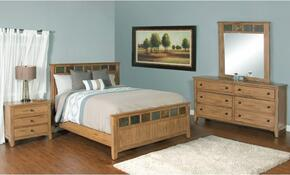 Sedona Collection 2334ROKBDMN 4-Piece Bedroom Set with King Bed, Dresser, Mirror and Nightstand in Rustic Oak Finish