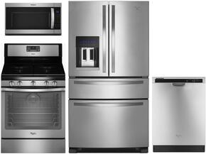 "4-Piece Kitchen Package with WRX735SDBM 36"" French Door Refrigerator, WFG540H0ES 30"" Gas Freestanding Range , WMH32519FS 30"" Over The Range Microwave oven and WDT720PADM 24"" Built in Dishwasher in Stainless Steel"