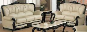 989IVORYS2SET Traditional 2 Piece Livingroom Set, Sofa and Loveseat in Ivory with Mahgany Wood Finish