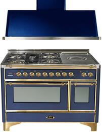 "2-Piece Midnight Blue Kitchen Package with UM120SDMPBL 48"" Freestanding Dual Fuel Range (Brass Trim, 5 Burners, French Cooktop) and UAM120BL 48"" Wall Mount Range Hood"
