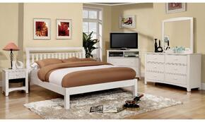 Corry Collection CM7923WHQBDMMCN 5-Piece Bedroom Set with Queen Bed, Dresser, Mirror, Media Chest, and Nightstand in White Color