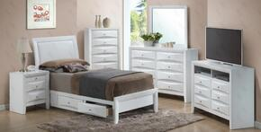 G1570DTSB2SET 6 PC Bedroom Set with Twin Size Storage Bed + Dresser + Mirror + Chest + Nightstand + Media Chest in White Finish