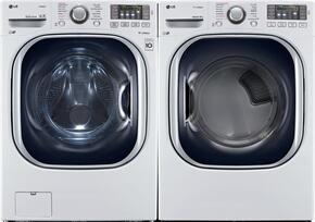 "White Front Load Laundry Pair with WM4370HWA 27"" Washer and DLGX4371W 27"" Gas Dryer"