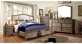 Belgrade I Collection CM7614KSBDMCN 5-Piece Bedroom Sets with King Storage Bed, Dresser, Mirror, Nightstand and Chest in Rustic Natural Tone