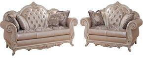 Marquee Collection 652-S-L 2 Piece Living Room Set with Sofa and Loveseat in Pearl White