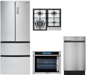 "5-Piece Stainless Steel Kitchen Package with HRF15N3AGS 28"" French Door Refrigerator, HCC2230AGS 24"" Natural Gas Cooktop, HCH2100ACS 24"" Wall Mount Hood, HCW225LAES 24"" Single Wall Oven, QDT125SSKSS 18"" Fully Integrated Dishwasher"