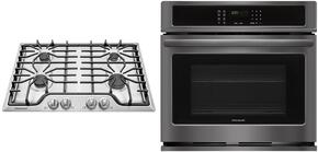 "2-Piece Kitchen Package with FFEW3026TD 30"" Gas Cooktop in Stainless Steel, and FFEW3026TD 30"" Electric Single Wall Oven in Black Stainless Steel"