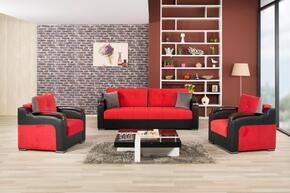 DIDESB2CHTR Divan Deluxe Sofabed and 2 Chairs with Pillows, Stitched Detailing, Curved Arms and Block Feet with Woodlike and Stainless Steel Accents: Truva Red