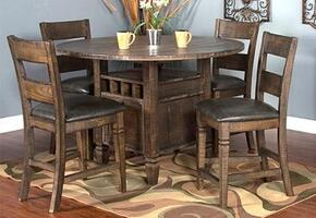 Homestead Collection 1013TLDT4C 5-Piece Dining Room Set with Counter Height Table and 4 Chairs in Tobacco Leaf Finish