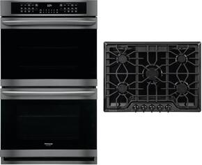 "2-Piece Kitchen Package With FGGC3047QB 30"" Gas Cooktop and FGET3065PD 30"" Electric Double Wall Oven in Black"