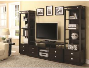 700696SET 3 PC Entertainment Center Set with TV Console + 2 Media Towers in Cappuccino Finish