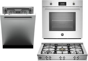"3-Piece Stainless Steel Kitchen Package with CB36500X 36"" Gas Cooktop, PROFS30XT 30"" Electric Single Wall Oven, and DW24XT 24"" Fully Integrated Dishwasher with Professional Handle"