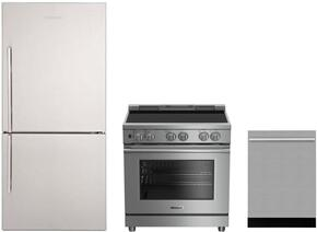 "3-Piece Kitchen Package with BRFB1812SSN 30"" Bottom Freezer Refrigerator, BDFP34550SS 30"" Slide-in Electric Range, and a free DWS55100SS 18"" Built In Fully Integrated Dishwasher in Stainless Steel"