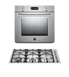 "Professional 2-Piece Stainless Steel Kitchen Package with F30PROXE 30"" Single Electric Wall Oven and QB36600X 36"" Gas Cooktop"