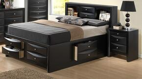 G1500GTSB3N 2 Piece Set including Twin Size Bed and Nightstand  in Black