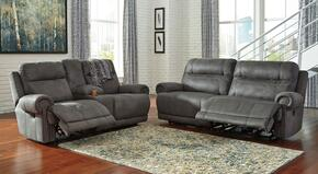 Zachery Collection MI-2240PSL-GRY 2-Piece Living Room Set with 2-Seat Power Reclining Sofa and Double Reclining Power Loveseat in Grey