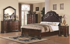 Maddison 202260KEDMCN 5 PC Bedroom Set with Eastern King Size Bed + Dresser + Mirror + Chest +  Nightstand in Cappuccino Finish