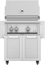 """30"""" Liquid Propane Grill with GCD30 Tower Grill Cart with Two Doors, in Steeletto Stainless Steel"""