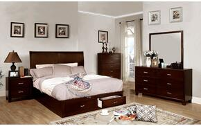 Enrico V Collection CM7807KSBDMCN 5-Piece Bedroom Set with King Storage Bed, Dresser, Mirror, Chest and Nightstand in Brown Cherry Finish