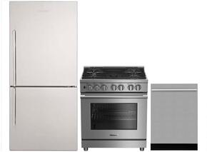"3-Piece Kitchen Package with BRFB1822SSN 30"" Bottom Freezer Refrigerator, BDFP34550SS 30"" Freestanding Dual Fuel Range, and DWT55300SS 24"" Built In Fully Integrated Dishwasher in Stainless Steel"