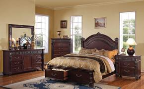 20500Q4PCSET Vevila Queen Size Bed + Dresser + Mirror + Nightstand with Embossed Panel, Decorative High Back Headboard Crown Carving and Storage Drawers in Cherry Brown Finish
