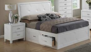 G1275BQSBN 2 Piece Set including Queen Size Bed and Nightstand  in White