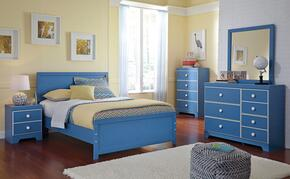 Bronilly Full Bedroom Set with Panel Bed, Dresser, Mirror, Night Stand and Chest in Blue
