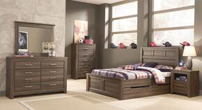 Juararo Full Bedroom Set with Panel Storage Bed, Dresser, Mirror and Nightstand in Dark Brown