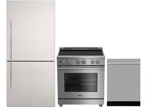 "3-Piece Kitchen Package with BRFB1822SSN 30"" Bottom Freezer Refrigerator, BGR30420SS 30"" Slide-In Gas Range, and DWT55100SS 24"" Built In Fully Integrated Dishwasher in Stainless Steel"