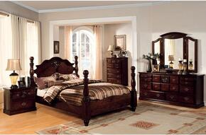 Tuscan II Collection CM7571QBDMCN 5-Piece Bedroom Set with Queen Bed, Dresser, Mirror, Chest and Nightstand in  Glossy Dark Pine Finish