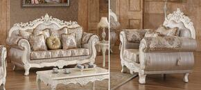 Serena 691-S-C 2 Piece Living Room Set with Sofa and Chair in Pearl White Color