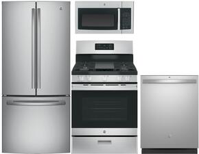 "4 Piece Kitchen Package With JGBS66REKSS 30"" Gas Freestanding Range, JVM3160RFSS ver the Range Microwave Oven, GNE25JSKSS 33"" French Door Refrigerator and GDT545PSJSS 24"" Built In Fully Integrated Dishwasher In Stainless Steel"