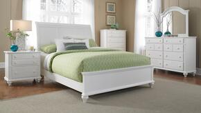 Hayden Place Collection 5 Piece Bedroom Set With Queen Size Sleigh Bed + 2 Nightstands + Dresser + Mirror: White
