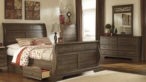 Allymore Queen Bedroom Set with Sleigh Bed, Dresser and Mirror in Aged Brown