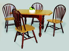 Sunset Selections Collection DLU-TDX3472-820-NLO5PC 5 Piece Drop Leaf Extension Dining Set with Rectangular Table + 4 Arrowback Chairs